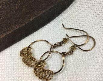 Bronze Wire Wrapped Hoop Earrings (E38)