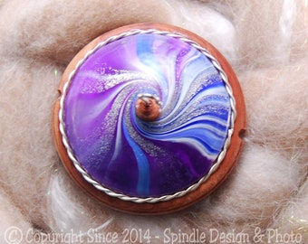 The Clay Sheep Drop Spindle - LIMITED EDITION - Purple & Blue Swirl Top Whorl Drop Spindle - Medium 1.45 oz