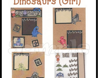 CLEARANCE SALE * Scrapbook Page Dinosaur Scrapbook Paper Layout kit DIY Premade Scrapbook pages embellishments Girl dinosaur Paper piecing
