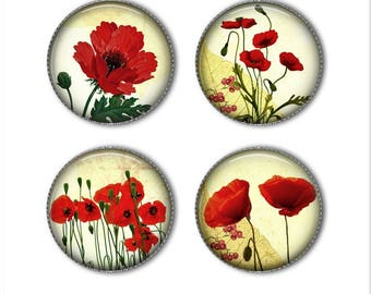 Poppies magnets or pins, flower magnets, flower pins, refrigerator magnets, fridge magnets, office magnets