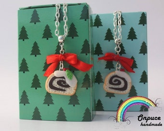 Polymr clay Cake roll necklace hadmade