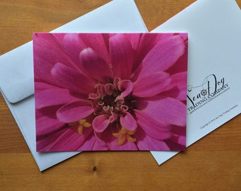 Stationery CARDS (A2) Giant Pink Zinnia - item12008M - FREE SHIPPING
