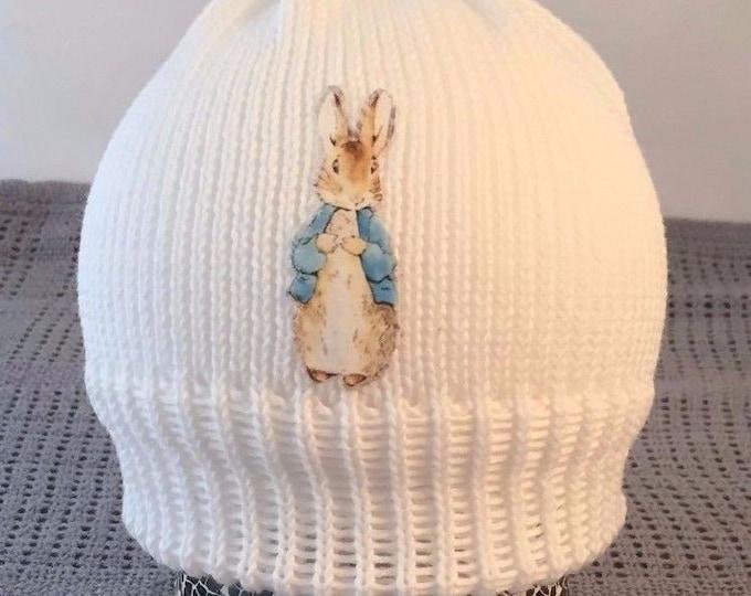 Peter rabbit inspired  baby beanie hat white cotton baby gift  new baby beanie