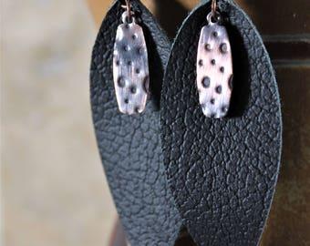 Leather Earrings, Leaf Earrings, Leather & Copper Earrings, Black Leather Earrings, Mixed Media Earrings, Copper Earrings / 787