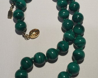 SALE  Vintage Malachite Knotted Bead Necklace