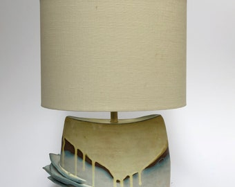 Glazed stoneware blue and yellow table lamp base (shade not included)