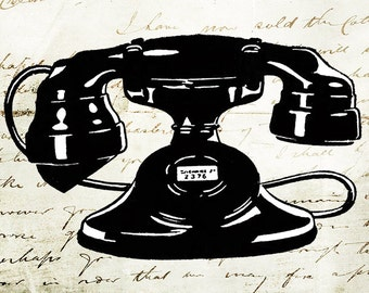 Vintage Clipart illustration old fashioned telephone design element graphic printable craft transfer scrapbook instant download PNG JPG PDF
