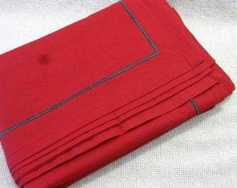 "Vintage Red Cloth Napkins, Dinner Napkin, Set of 6, Table Linen, Reusable Napkins 20"" Square"