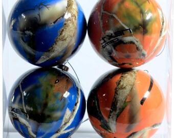 Next Camo Orange and Blue Christmas Ornaments