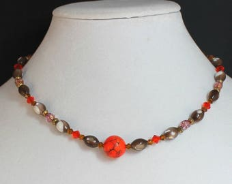Orange Marble Abalone Crystal Necklace