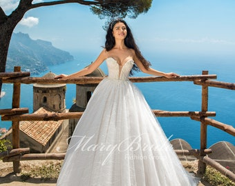 Plunging V Strapless Wedding Gown