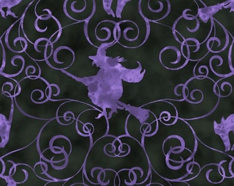 Witch Purple Black Fright Night Blank Quilting Fabric