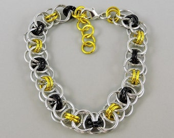 Yellow & Black Chainmail Bracelet, Chainmaille Bracelet, Helm Weave Chain Mail Jewelry, Helm Bracelet, Yellow Jewelry