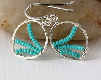 Jewelry Lot, Handmade Earrings, Sterling Silver, Amazonite, White Pearls, Turquoise Glass Beads