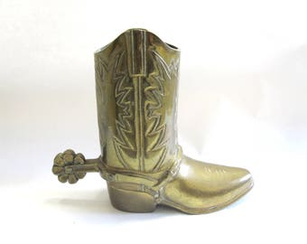 Brass Cowboy Boot Planter Vase Flower Pot