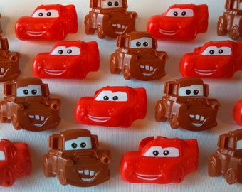 Cars cupcake rings picks or cake toppers, perfect for Disney birthday party or treat bag favors, movie watching, Lightning McQueen Tow Mater