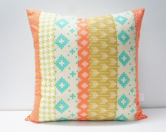 Pillow Cover - Patchwork Pillow Cover, 20x20, Green, orange, turquoise, geometric patchwork