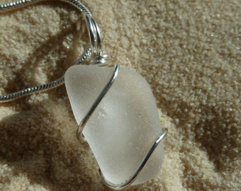 Wire wrapped white sea glass necklace with sterling silver chain