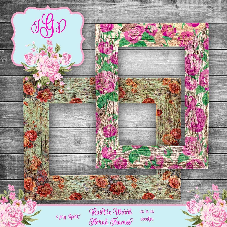 Vintage Shabby flores rústico madera marcos digitales Clipart ...