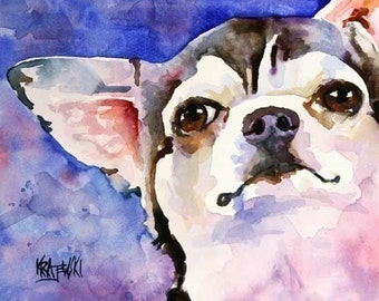 Chihuahua Art Print of Original Watercolor Painting - Dog Art 8x10