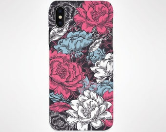 Pink + Blue + White Flower Phone Case for iPhone and Samsung, iPhone X, 8, 7, 6, 6s, Plus, 5s, 5c, Samsung, S8
