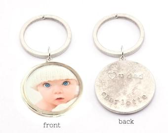 Custom Photo Keychain | Personalized Keychain | Hand Stamped Keychain | Baby Photo Keychain | Gifts forDad | New Baby Gift