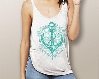 Bohemian Anchor Watergirl Flowy Side Slit Tank