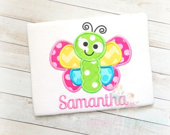 Rainbow butterfly shirt- personalized shirt with butterfly- butterfly themed shirt - cute butterfly shirt - embroidered shirt with butterfly