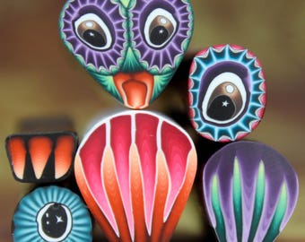 Set of 6 Polymer Clay Canes -'Night Owl' series (34cc)