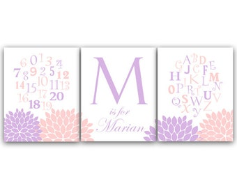 Alphabet Art, Pink and Lavender Nursery Wall Art, DIGITAL DOWNLOAD Nursery Print, Personalized Kids Wall Art, Modern Nursery Art - KIDS123