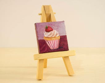 Cupcake Oil Painting, 2x2 Canvas with Easel, Mini Painting, Dollhouse Art, Still Life, Dessert