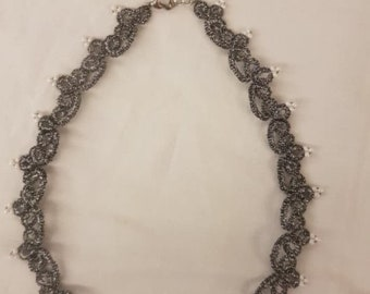 Handmade Necklace Gift For Her Ladies Girls Choker Tatted Dark Shiny Grey Viscose Metallised Polyester Glass Beads Non-Stuffed