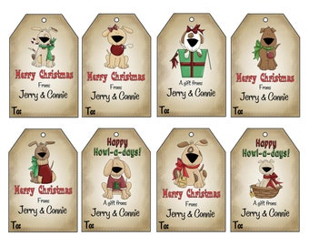 16 Printed Personalized Christmas Doggie gift tags, Personalized gift tags by Swell Printing