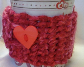 Pink Mug Cozy Cover Fits Coffee Cup, Sleeve, Adjustable, Button up cover, Cozi, Crochet, Tea Mug, Red Heart Button Hot Cold Insulated