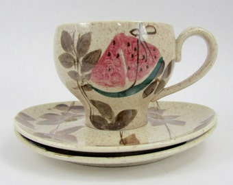Vintage Red Wing Tampico Cup & Saucer Set, Hand Painted, Watermelon and Leaf Design