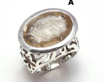 Natural Gemstone Golden Rutile, Lemon Quartz 925 Sterling Silver Ring, Handmade Solid Silver Ring Jewelry FREE Jewelry Polishing Cloth
