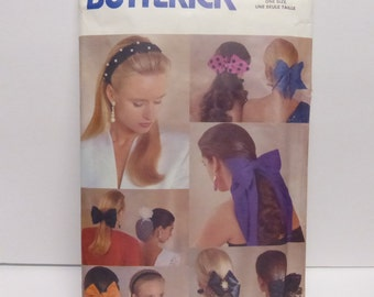 Vintage Butterick Pattern 5135 Bows, Headbands and Snoods  Factory Fold