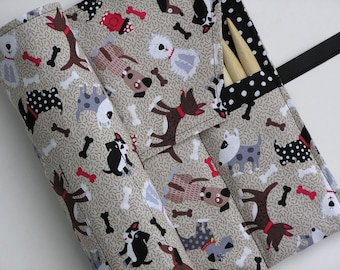double pointed knitting needle case - organizer  - crochet hook - organizer - 28 pockets - puppies and polka dots