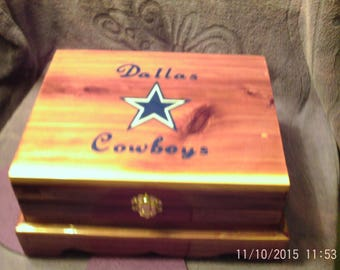 CEDAR JEWELRY BOX  with Dallas Cowboys  with Parquet Finish - Handcrafted, Lined