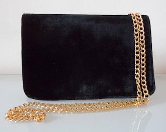 Black Velvet Clutch Bag with Chain Strap-textile/velvet/evening/purse/shoulder strap/present