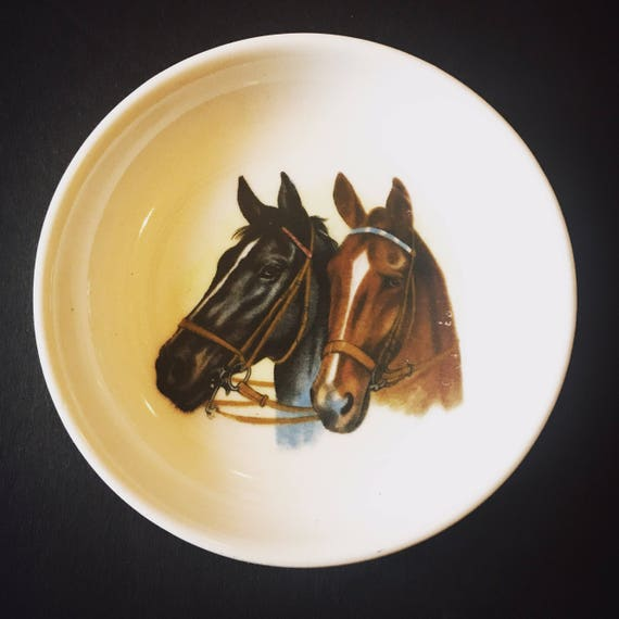Vintage Equestrian 1950s Small Tray with Horse Figures Made in Japan - Occupied Japan Equestrian Dish