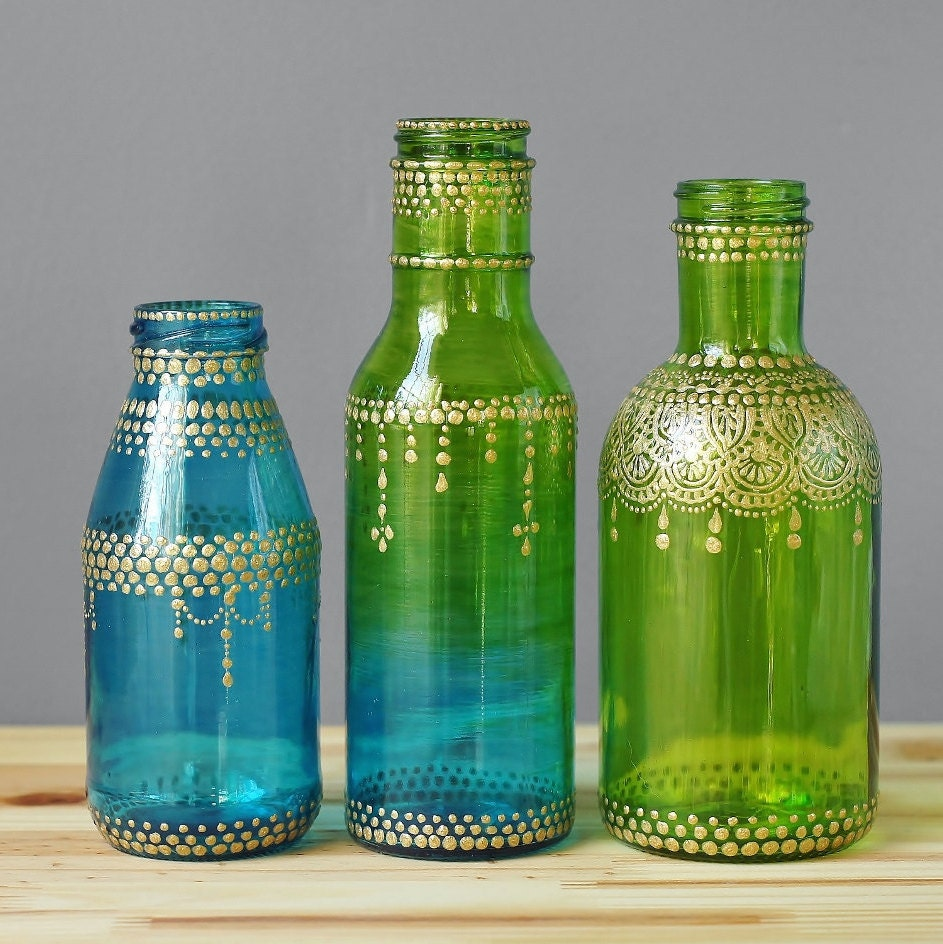 Moroccan style glass jar bud vases ombre teal to lime green zoom reviewsmspy
