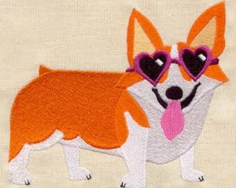 Cool Corgi Embroidered Flour Sack Hand/Dish Towel