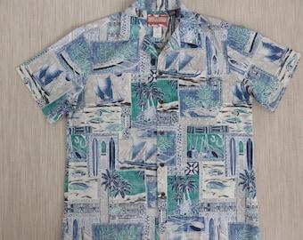 Hawaiian Shirt Men RJC LTD. Paddle Board Surfboard Paradise Tropical Reverse Print 100% Cotton Mens Aloha Shirt - L - Oahu Lew's Shirt Shack