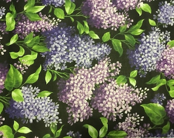 Purple Hydrangea on Black by Cranston. BTY