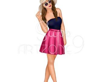 Beautiful fashion girl illustration