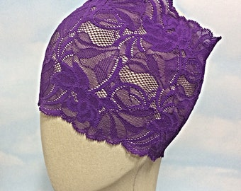 Purple Stretch lace headband, adult lace headband, wide lace headband, lace headband, purple lace headpiece, bohemian lace headband, boho