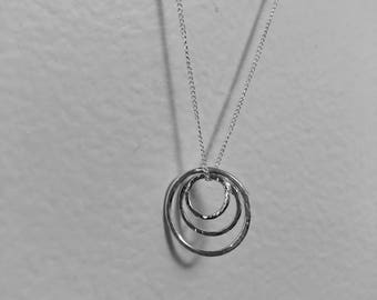 Triple Trio Circles Necklace by Kitty Stoykovich Designs. Three rings necklace. Handmade 925 Sterling silver circle pendant.
