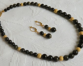 Golden Sheen Obsidian Necklace and Earring Set