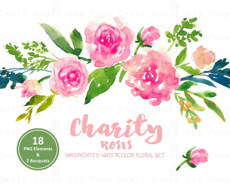 Digital Clipart- Watercolor Flower Clipart, pink roses Clip art ...